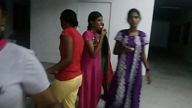 Tamil college girls in night dress at hostel