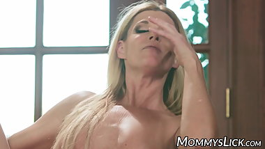Teen and stepmom have lesbian threesome with hot teacher
