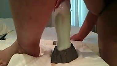 Big ass girl loves her dragon dildo .......... and why not?