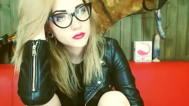 Camgirl Nice Blonde Leather Jacket Girl
