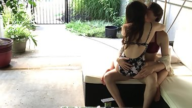 Femboy in Bikini Gets Humped, Kissed, and Ridden by Mommy