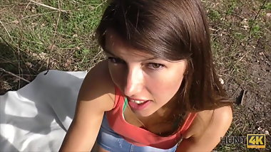 Slender teen tries outdoor anal sex while cuckold films this