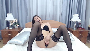 Asian Teen in stockings plays so cute