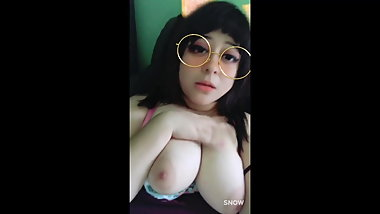 Girlfriend bounces her huge tits and plays with herself