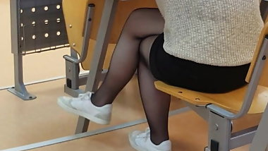 Sexy Turkish teen student dangling in sheer pantyhose