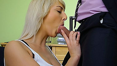 LOAN4K. Blonde-haired miss gets sissy banged hard in loan...