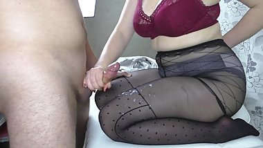 Teen Big Tits in Black Pantyhose - Handjob, cum feet
