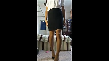Cute Thai Ladyboy Secretary masturbating and dildo insertions on mirror