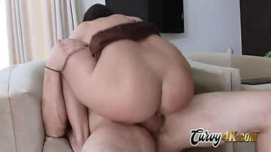 Violet worships master by sucking and taking his cock